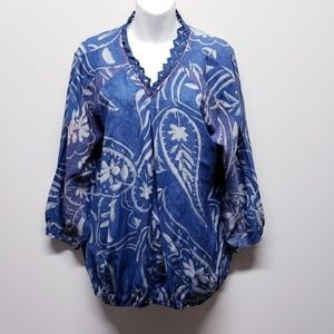 Lucky Brand Blue Floral Paisley Peasant Blouse 1X